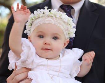 White Infant Flower Crown Baptism Christening silk babys breath artificial hair wreath flower girl halo Bridal Wedding Accessory headband