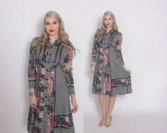 Vintage 70s Boho DRESS / 1970s Patchwork Asian Floral Print Cotton Midi Dress XS - S