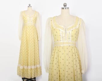 Vintage 70s GUNNE SAX Dress / 1970s Sunny Yellow Corset Lace-Up Floral Print Maxi Dress