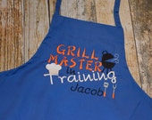 Grill Master in Training - Personalized Child's Apron  - Choose Your Colors and Fabrics - Child's Art Smock or Pretend Play Dress Up