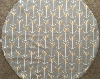 Round  Padded Play Mat / Floor Mat / Tummy Time / White and Gold on Grey