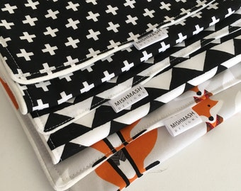 Modern Burp Cloths - Set of 3 in Multi Colours - Super Absorbent -  Fox Triangle and Cross