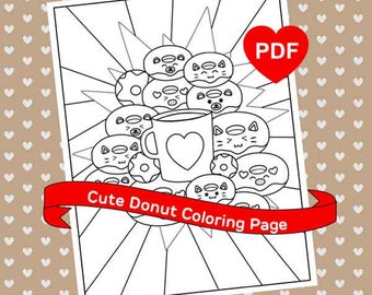 Donut Coloring Page Cute Kawaii PDF Printable