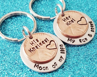 Moon of My Life, My Sun and Stars-Couples Keychains-Husband Wife Keychains-His Hers Key chains-Boyfriend gift-Husband Gift-Handstamped Penny