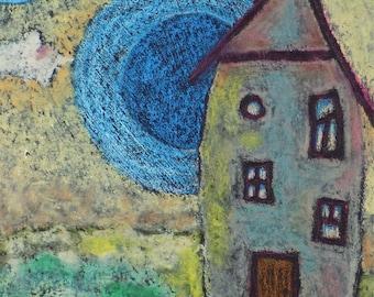 Van Gogh's Cottage--Original Oil Pastel With Fantasy Sky