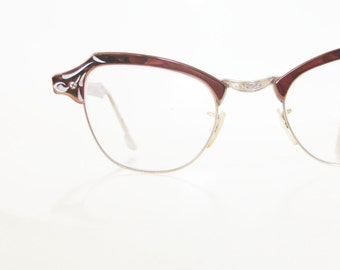 Vintage 1950s Cat Eye Glasses Copper Aluminum Bausch Lombe Rockabilly Pin Up Sexy Chic Classic 50s Fifties Mid Century Lolita Geeky