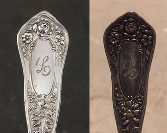 Spoon Keychain, Spoon Key Chain, Spoon Key Ring, Monogrammed Silverware, Monogrammed Keychain, L Monogram, Engraved Keychain, Beauty Pattern