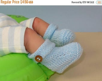 50% OFF SALE Digital pdf file knitting pattern only- Easy Baby roll Top 1 button Booties knitting pattern