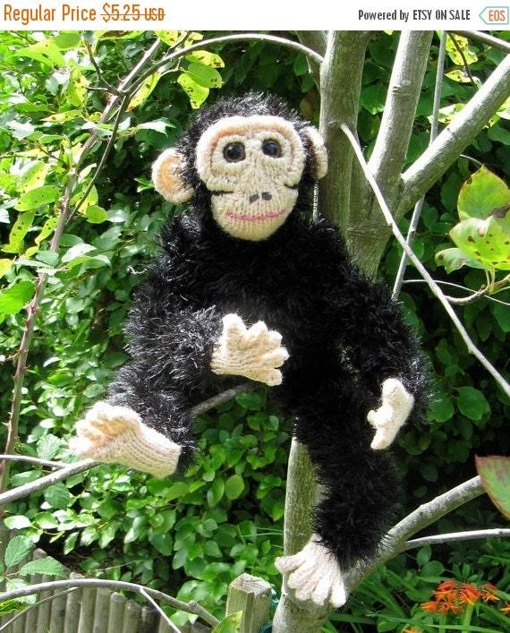 HALF PRICE SALE Instant Digital File Pdf Download My Pet Chimpanzee toy animal monkey knitting pattern pdf download by madmonkeyknits