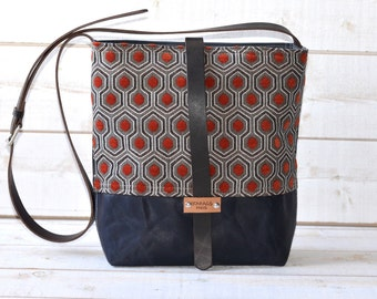 Waxed canvas bag ,cross body bag, waxed canvas day bag, leather strap shoulder bag,orange geometric