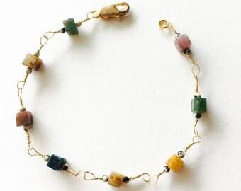 Jasper and Gold Bracelet