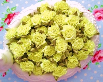 Satin Cabbage Roses - Spring Yellow - Set of 10