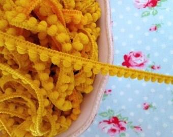 Baby Pom Pom Trim - Lemony Yellow - 1/4 inch Ball Fringe - 3 Yards