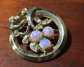 Vintage Circle Pin Faux Opal, Rhinestone, Gold Tone Brooch