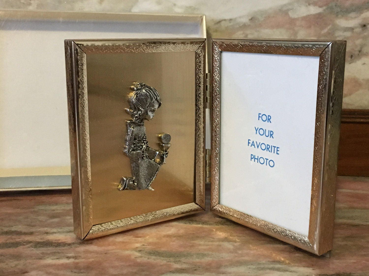 Vintage First Communion PICTURE FRAME Gold Metal Hinged 3x4