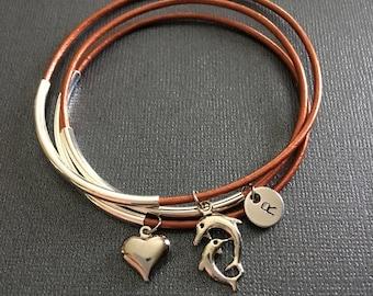 Dolphins,layered bracelets,Stacked boho,bracelet set,Leather bangles,Boho jewelry,Personalized, Monogram,Stacking bangles, BFF bracelets