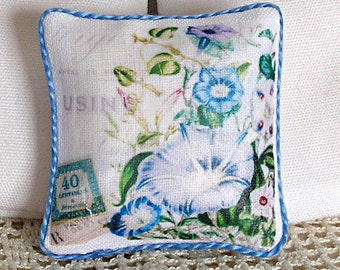 1:12 Pillow - Morning Glories - Dollhouse Scale Miniature Shabby Cottage Chic *Free Shipping*