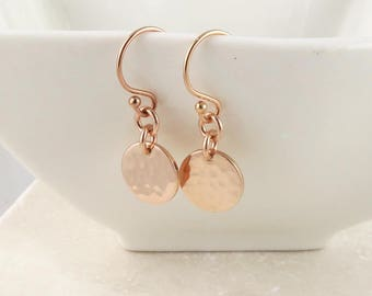 Rose Gold Dot Earrings, dainty rose gold hamered disc earrings