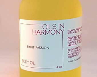 Body Oil | Hair Oil - FRUIT PASSION (Tropical Passion Fruit ) 4 oz Frosted Glass Bottle