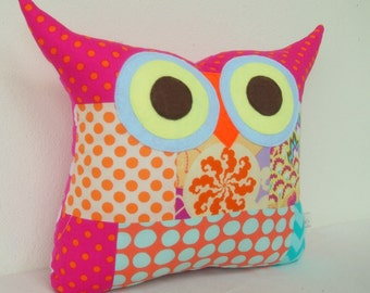 Use coupon codes/Christmas gift/PATCHWORK /Aqua/orange owl pillow/cushion/owl/decoration pillow /Ready to ship