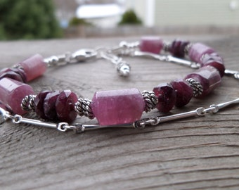 Huge All Shades of Pink Tourmaline with Sterling Silver Fancy Chain Gemstone Bracelet