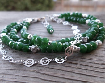 Green Onyx Gemstone Sterling Silver and Fine Silver Triple Strand Bracelet with Fancy Sterling Silver Chain