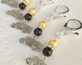 School bus driver gift, keychain, clip. SET of TWO.