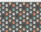 DOG LOVERS by Clothworks Fabrics - Dark Grey Dog Paws # Y1999-07 - Dog Quilt Fabric - By the Yard - Puppy fabric