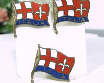 Vintage ENAMELED ITALY Cufflinks Pin Brass Cuff Buttons Italia