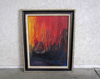 "Vintage Mid Century Abstract Ship Painting. Oil on Canvas. Signed ""Hayes"". Circa 1950's - 1960's."