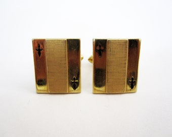 Vintage Modern Cuff Links in Brass Finish by Swank. Circa 1960's.