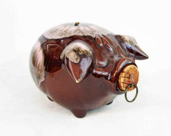 Vintage Cory Pig Pottery Coin Bank by Hull Pottery in Brown Glaze. Circa 1950's.