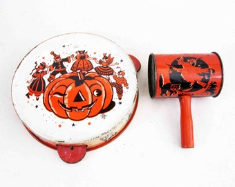 Vintage Halloween Tambourine and Rattle Noise Makers. Circa 1950's - 1960's.