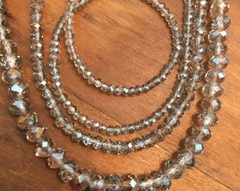 """Light Smoky Quartz Gray Brown Color Faceted crystal roundel beads pick a size 15"""" strand"""