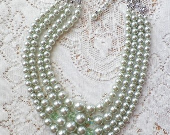 Vintage Mint Faux Pearl and Aurora Borealis Glass Bead Four Strand Choker / Necklace, Mint / Light Pastel Green Beads / Beaded, From Japan