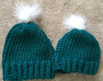 Mommy and me Faux Fur Pom Pom Hats, Mommy and Me matching Hats, Mommy and Me Pom Pom Hats, Faux Fur Pom Pom Hats, Ready to Ship Hats