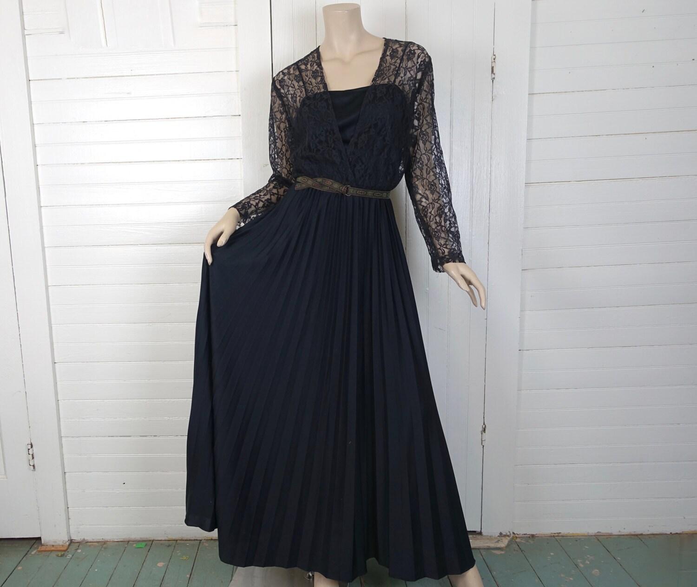 70s Black Disco Witch Dress- 1970s Lace & Pleats- Gypsy Goth ...