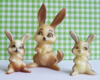 "Three Miniature Wilton Bunny Family Figurines Cake Toppers Vintage W754 up to 2 1/2"" tall 1970's"