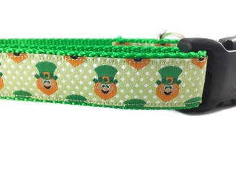 St Patricks Dog Collar, Leprechauns, 1 inch wide, adjustable, quick release, metal buckle, chain, martingale, hybrid, nylon
