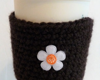 Crochet Reusable Coffee Sleeve with Flower in Brown, Stocking Stuffer, Coffee Lover