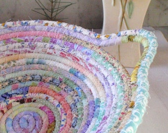 Coiled Fabric Basket - Pastel Gypsy - Organizer, Storage, Bohemian Handmade Basket, Soft Colors