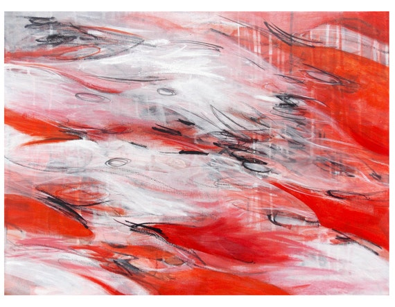 Original Abstract Expressionist Painting, Modern Home Decor, Contemporary Fine Art, Fire and Ice Jessica Torrant, red black white gray