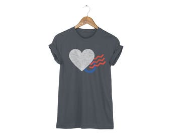 Geo Memphis Love Letter Heart Tee - Boyfriend Fit Crew Neck Cotton Tshirt with Rolled Cuffs in Asphalt and Multi Colors - Women's Size S-5XL