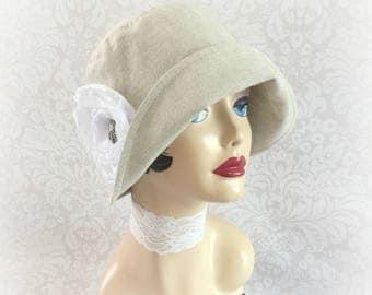 Linen Hats - Summer Hats - Womens Cloche - Summer Cloche - Flapper Style Hat - 1920's Cloche  - Elegant Chemo Cloche - Handmade in the USA