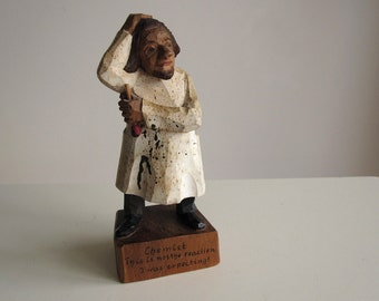 Folk art hand-carved wooden chemist figurine