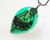 Real Butterfly Wing Necklace Bohemian Jewelry Nature Pendant Wing  Insect Black Green  Cruelty Free Resin