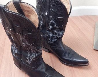 cowboy boots, womens size 8, white stars, tony lama