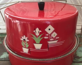 Vintage Carleton Metal Cake Carrier 1950s Red with hand painted flowers
