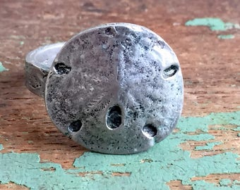 Vintage 1975 Metzke pewter Sand Dollar Ring Adjustable