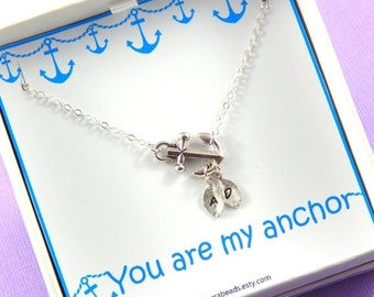 Christmas Sale Anchor necklace, sideways anchor, initial necklace, sterling silver chain, Gift Boxed Necklace, You are my Anchor